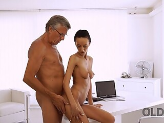 OLD4K. Nice secretary Liliane cant wait to taste old boss dick