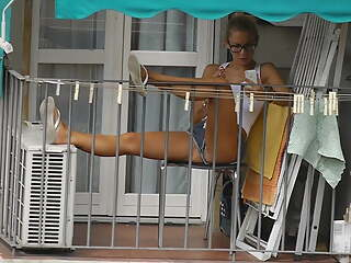 Teen neighbor on the balcony X