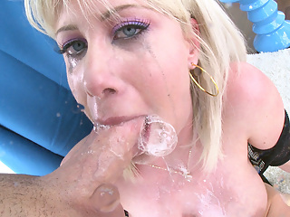 blonde & big tits & shaved pussy & milf & blowjob & spitting & pussy licking & ass licking & spit bubbles & gagging & spit stringers & throat fucking & cum play & spit play & exclusive