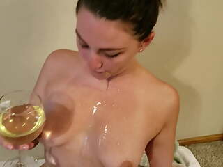 Piss drinking girl gives blowjob and gets golden shower