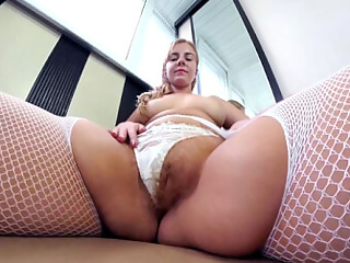 Agneta Masturbates Juicy Hairy Pussy on Balcony - SexLikeReal