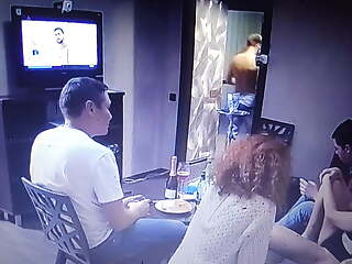 Party at home with several couples .. (Spy-Video)..