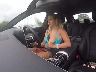 Teen cumming in car while driving