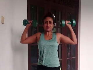 Sri Lankan Actress Medha Jayarathna Sexy Workout Session