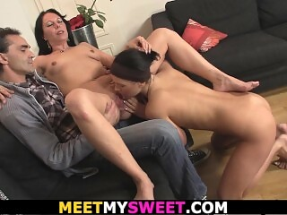 His girlfriend licks mom's shaved pussy and rides old dad's dick