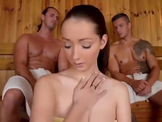 Sexy girl with huge natural boobs with two mens in sauna