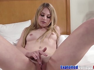 Young coed with braces Mabel May fucks big cock for facial