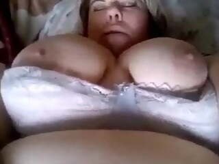 Fat girl with a big belly Masturbates.