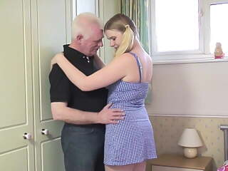 Oldman fucks young blonde in the bedroom
