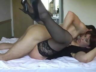 Hot housewife having sex with black stockings & high heels