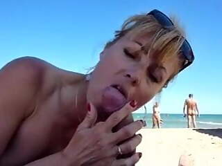 MILF Cunt Sucks Cock BJ in Public at Beach for World to See!