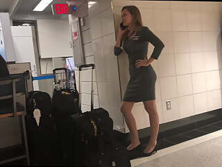 Candid sexy flight attendant with amazing ass (airport slut)