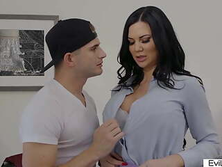 Dark haired step mom with big boobs fucked by her step son