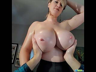 Lana Kendrick lucky man touching her beautiful big boobs