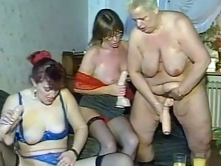 Granny Dildo Party Turns Hardcore Group Sex