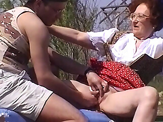 hairy 84 years old redhead granny gets rough outdoor fingered tit fucked and extreme wild banged by her crazy stepson