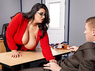 Oh, the parents teachers have to deal with. Sometimes, there's even tougher to handle than students. So, what is the big-breasted, curvy, silky-haired teacher Sofia Rose going to do about it? Because uppity, smart-ass Oliver Flynn has absolutely no interest in being a respectful, well-behaved parent at her parent-teacher interview. Perhaps she'll make him sit still while she whips out his hard cock and gives him a sloppy wet blowjob? Or sit on his face to test his ability to stay focused? Maybe she does both, and a whole lot more. Either way, Oliver is in for the lesson of his life. The only thing left to ask is: what will his grade be?