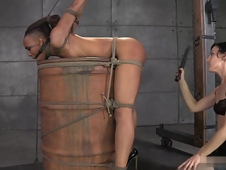 ND - tied to a barrel, spanked, squirts, cums - part 2