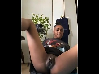 Ebony vouyer tries not to get caught around house
