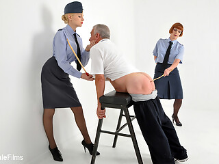 After a verbal dressing down the airman is sentenced to 100 strokes of the cane in true judicial style - no warm up, just straight in with the punishment. A CP enthusiasts dream movie with a brutal caning and a verbal lashing from both female officers.