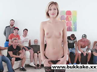 Hottie Ria Sunn in BTS of extreme bukkake gangbang