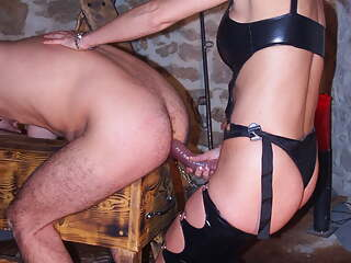 Femdom, piss and strapon for him
