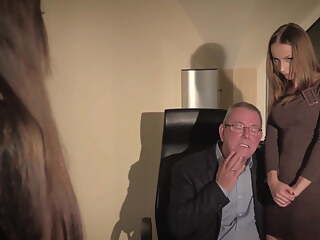 Oldman fucks two young secretaries