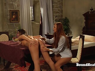 Young lesbian girls takes big fat strapon deep in their pussies and orgasming hard