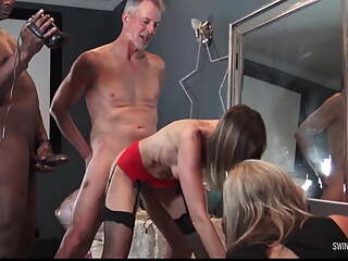 MILFs enjoying cocks in homemade swinger group sex video