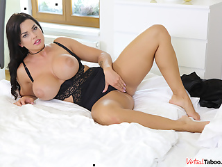 When busty brunette temptress Chloe felt the passion rising up inside of her curvy body, she decided to do something about it immediately. Knowing that no one will disturb her while she was in her bedroom, this voluptuous looker started slowly removing her black nightgown and lingerie until her huge tits were out in the open. It was not soon before her panties were off as well and our stunning Chloe had the full access to her cleanly shaved muff which she took full advantage off and used her fingers to get it a bit moist before proceeding to actually rub her clit until it started sending shockwaves of pleasure through her bod. Luscious Chloe soon realized that her fingers alone would not do it for her, so she decided to find her favorite black dildo. Putting it between her big boobs and moving it up and down for a bit, this fabulous stunner imagined that there was a cock between her tatas instead of a rubber toy, so she went on and put it inside of her mouth and started sucking on it sensually. This, of course, also made the toy completely wet, which, in turn, made the penetration of her dripping wet pussy with it a piece of cake. At first, sexy Chloe started drilling her juicy snatch slowly, before increasing both the tempo and the intensity as she could not control herself anymore. And, at the very end, when she started seeing red from all of the pleasure and could not prevent herself from orgasming anymore, Chloe let out a loud moan as she finished herself off.