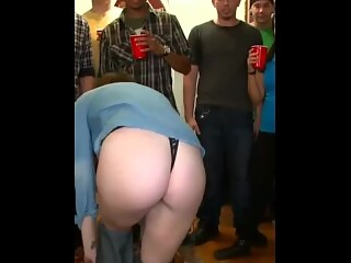 party girl undressing in front of students