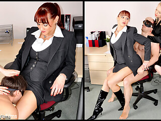 The candidate these two female executives are looking for must be exceptional. He doesn't have to be a good at filing, but oral skills and the ability to get hard are essential. They make him strip at the start of his interview and inspect the size of his cock. They make him lick pussy, putting his oral technique to the test, before one of the female executives rides his cock to orgasm. After having used and abused him, they throw him out, without a final decision on his suitability just yet.