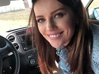 She loves to suck dick in the car and eat cum