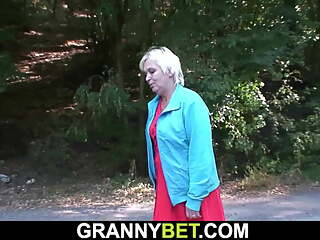 Young dude doggy-fucks 80 years old granny roadside