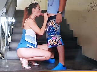 milf get fucked on stairs and gets cum in mouth