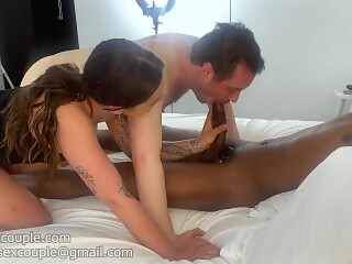 Boyfriend sucks a massive BBC for her!