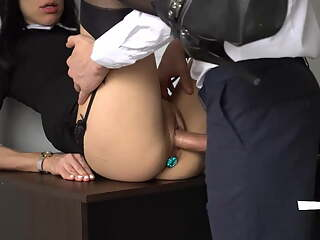 Anal Creampie for Sexy Secretary, Boss Fucked her Tight ASS
