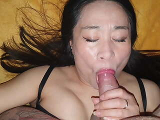 Mature chinese bitch sucked and fucked bareback with creampie