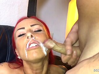 German Redhead Fitness Teen Fuck older Guy and let Face Cum
