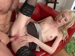Czech blonde is getting banged in a doggy style position and enjoying it more than she expected