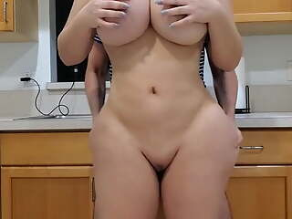 Large bootie step-mom fucks her son in the kitchen, sex