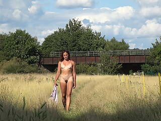 Naked in an English meadow and flashing on the train