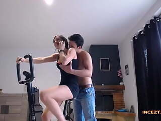 Fucking sister on a gym bike