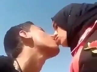 Hot hijabi slut learning to kiss