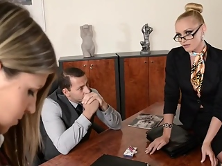Petite schoolgirl is about to have a threesome with a horny principal and a slutty professor