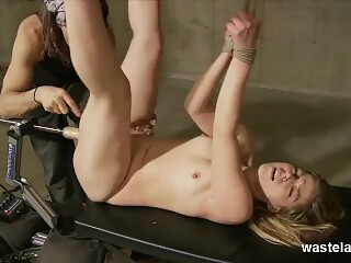 Slutty Submissive Blonde Bound In Ropes Fucked By Machine And Whipped Ass