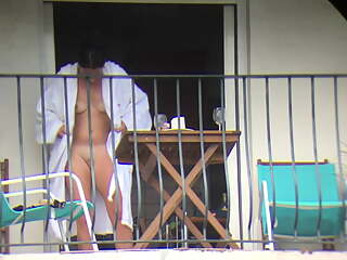2 The neighbor gets fucked from all sides on the balcony