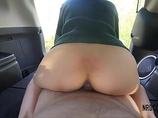 Army wife rides on work mate's dick while taking a break in Jeep 4k