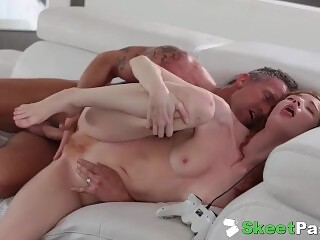 Sneaky Daughter Spreads Her Hairy Ginger Pussy For Stepdad