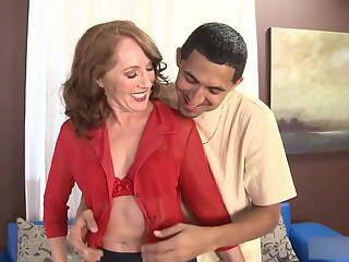 Over 50yo Redhead Milf Sucks and Fucks Lucky Guy